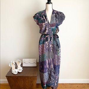 BURNING TORCH Wraparound Silk Maxi Dress with Belt